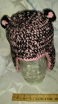 Crochet pink and black child size bear earflap #74 - $12.00