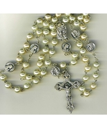 Rosary - White round  Bead - Our Lady of Lourdes - 1076/Lourdes - $21.99