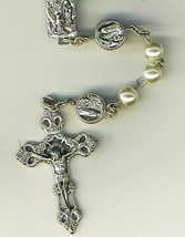 Rosary - White round  Bead - Our Lady of Lourdes - 1076/Lourdes image 2