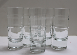 Vintage Set Of 5 Tall Clear Ridged Shot Glasses Double Shot Glasses - $18.00