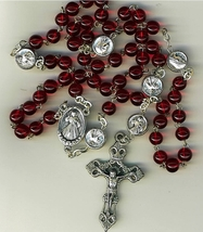 Rosary - Red round Bead - Divine Mercy - MB-1053/DV