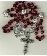 Rosary - Red round Bead - Divine Mercy - $23.99
