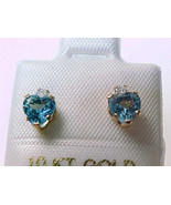 BLUE TOPAZ Stud EARRINGS in 10K Yellow GOLD - Heart Shaped - 1.70 cts to... - $52.00