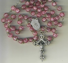 Rosary - Murano Pink Glass Round capped beads - MB-1102/AD