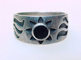 Vintage BLACK ONYX Ring in STERLING Silver - Size 5 3/4 - Sun and Moon d... - $38.00