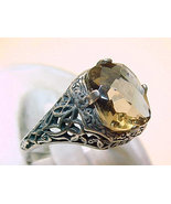 Vintage SMOKY TOPAZ RING in STERLING Silver - Size 7 - FREE SHIPPING - $58.00