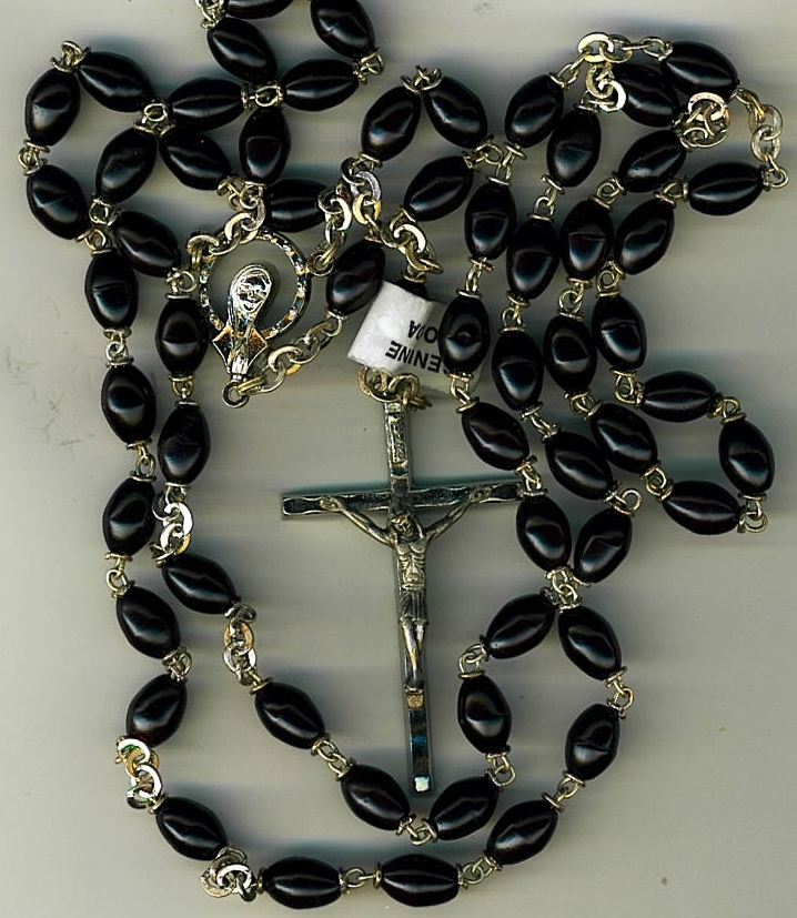 Rosary - Black Oval Cocoa beads - L5126/B