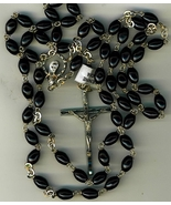 Rosary - Black Oval Cocoa beads - L5126/B - $21.99