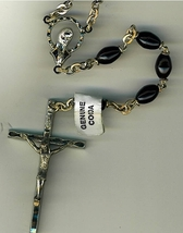 Rosary - Black Oval Cocoa beads - L5126/B image 2