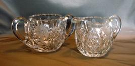American Brilliant Period Cut Crystal Creamer and Sugar Set, Antique Glass - $80.00