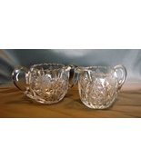 American Brilliant Period Cut Crystal Creamer and Sugar Set, Antique Glass - $80.00
