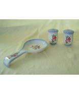 Charlotte Pattern Stoneware Spoon Rest, Salt, Pepper  - $20.00