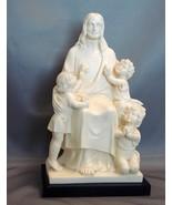 G. Ruggeri Vintage Carving Jesus 3 Children Alabaster on Black Base. - $60.00