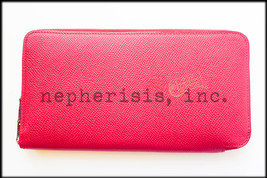 AUTH BNIB Hermes SILK'IN Long Zip Wallet Epsom RUBIS & ROSE TYRIEN Silk ... - $2,000.00