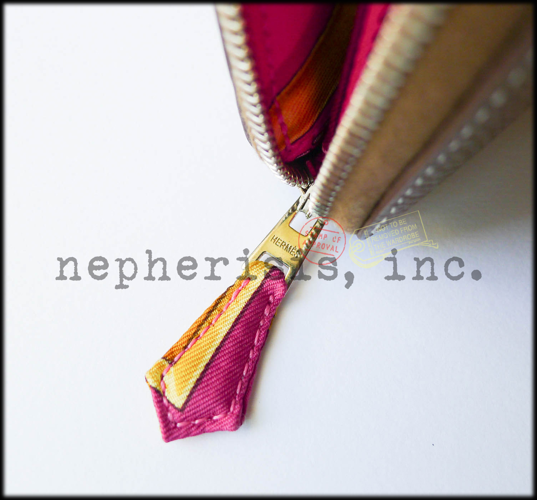 AUTH NIB Hermes SILK'IN Long Zip Epsom Wallet ETOUPE & ROSE SHOCKING Silk LINING