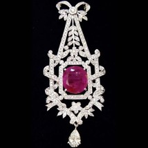 BURMESE! 12.04TCW Natural Ruby Diamonds 18k solid white gold pendant necklace - $9,954.00