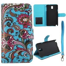 Teal Paisley Inside Teal Leather For Samsung Galaxy note 3 III N9000 Cas... - $11.39