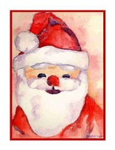 Christmas Watercolor Santa Set of 8 Notecards Note Cards, Stocking Stuffers - $15.00