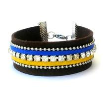 Brown Suede Cuff Bracelet Crystal Rhinestone Wr... - $20.00