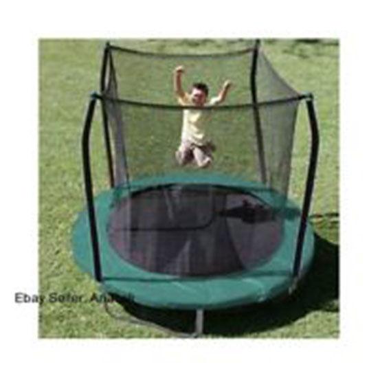 On Sale-Skywalker 8ft Round Trampoline Jumper w/Safety Enclosure, Gymnists Blue