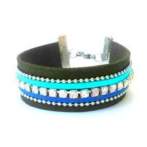 Faux Suede Cuff Bracelet Blue Teal Rhinestone W... - $20.00