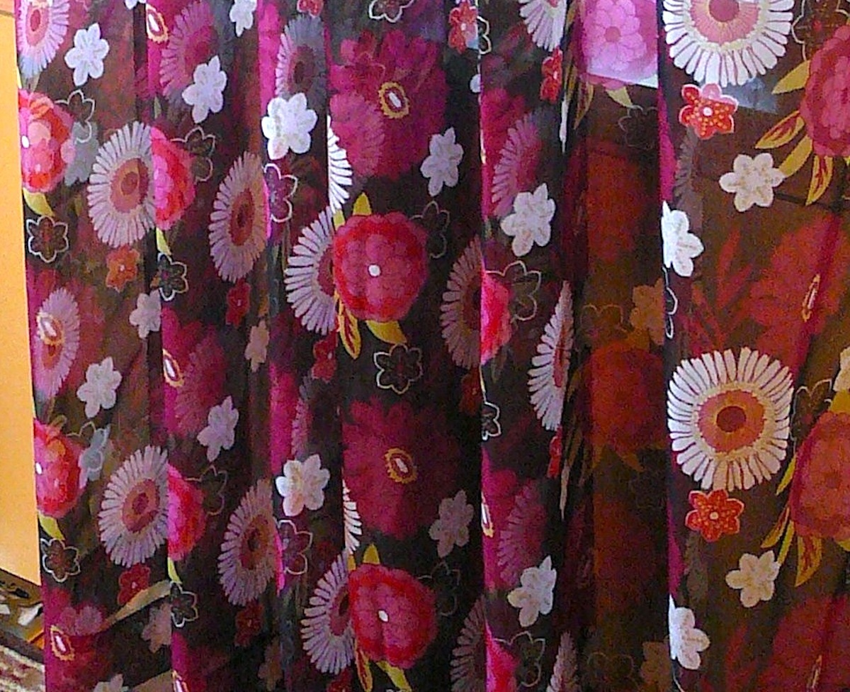 "Primary image for Pair of 84"" L Printed Floral Grommet Curtain Panels - in Pinks and Purples #5271"