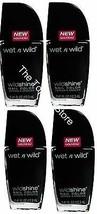 4 Black Nail Polish By Wet N Wild, Wild Shine, Black Creme, Pack of 4 - $14.01