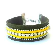 Yellow Faux Suede Cuff Bracelet Rhinestone Wris... - $20.00
