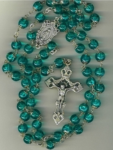 Rosary - Green Round Capped Beads - L1160A/Green