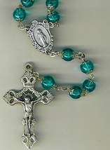 Rosary - Green Round Capped Beads - L1160A/Green image 2