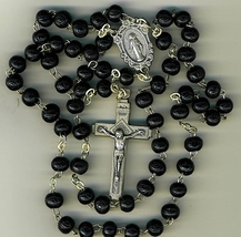 Rosary - Black Round Wood Bead - 1010A/B
