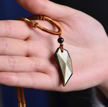 natural Gold Obsidian stone Hand carved  Wolf Spike charm handmade pendant - $26.72