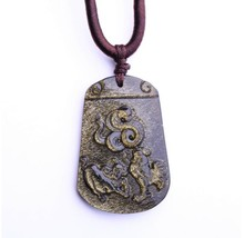 natural Gold Obsidian stone Hand carved snake ox with Chicken charm pendant - $29.69