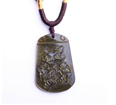 natural Gold Obsidian stone Hand carved dragon rat  Monkey charm pendant - $29.69