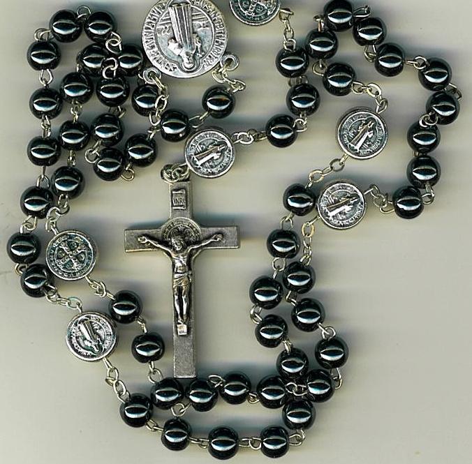 Rosary   dark gray round beads   st. benedict 1122p sb 001