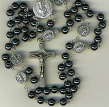 Rosary - Dark Gray Round Beads - St. Benedict - 1122P/SB