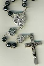 Rosary - Dark Gray Round Beads - St. Benedict - 1122P/SB image 2