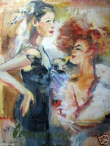 Cabaret by Dulon; Original Mixed Media Painting  signed - $3,700.00