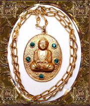 Vintage Jeweled Buddha Necklace Large Chinese Oriental Rhinestone Asian ... - $125.00