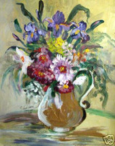Picture Of Flowers In Gold by Anna S. Ray - oil -floral - $800.00