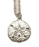 Silver Sand Dollar Charm Pendant with Silver Necklace Chain - $26.00
