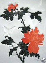 Orange Peonies; Etching, Embossed Butterfly - $100.00