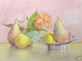 Hibiscus and Pears by William Buffett - Fruit - $50.00