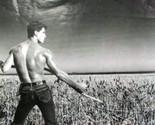 half nude male working in a hey field