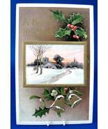 Embossed Postcard Happy New Year 1913 Davidson Snowy Church Maine - $8.00