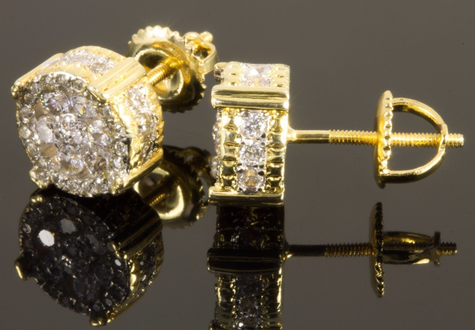 1Carat Sim Diamond 14K Yellow Gold Plated Hip-Hop Stud Earrings Screw-Back