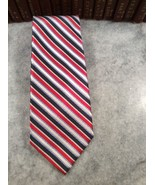 Roundtree & Yorke Red Black Blue Stripe Silk Necktie Easy Care Nice! - $7.00