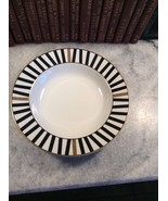 "MIKASA CHINA L3139 BLACK & GOLD ON WHITE"" VARSITY BLACK "" Bowl Excellen - $15.00"