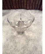 Vintage Round Scalloped Edge Divided Clear Glas... - $15.00