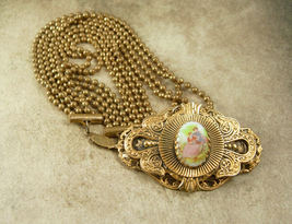 Antique heavy Brass PORTRAIT Necklace 4 strand painted cameo choker victorian  - $325.00